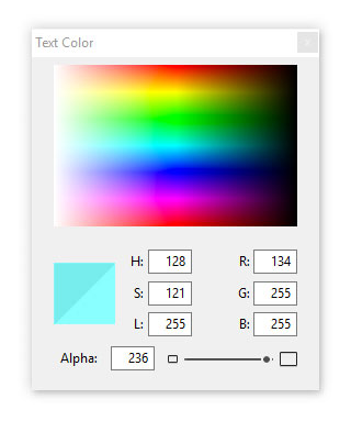 The Windows Colors palette