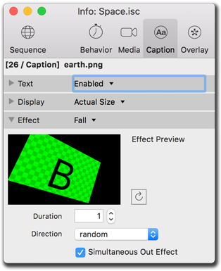 Info palette, caption effects settings