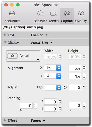 Info palette, caption size settings