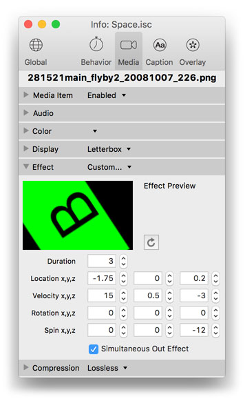 Info palette, video media effects settings