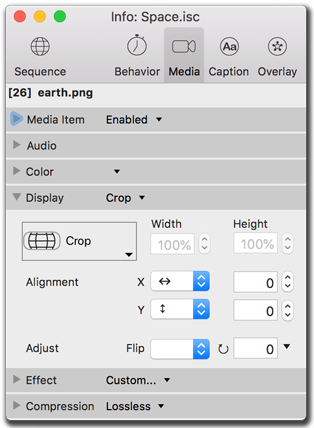 Info palette, video media size settings
