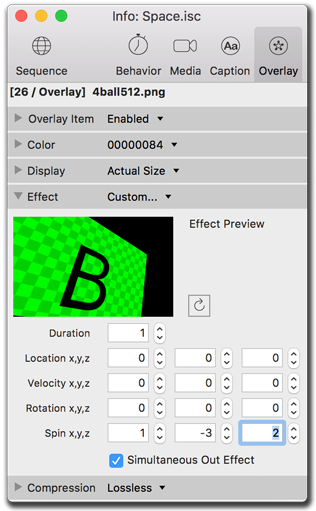 Info palette, overlay effects settings